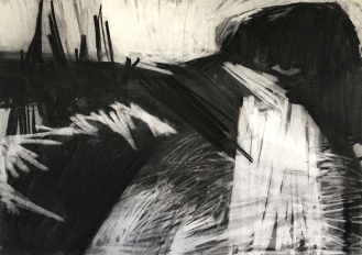 Estuary, charcoal with compressed charcoal, 50 x 70cm, 2001.