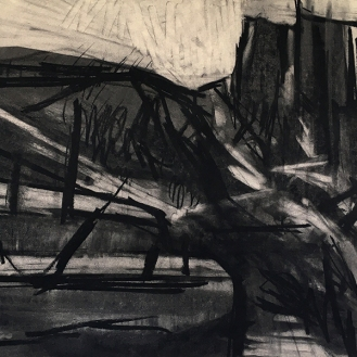 Cligga, charcoal with compressed charcoal, 50 x 70cm, 2001.