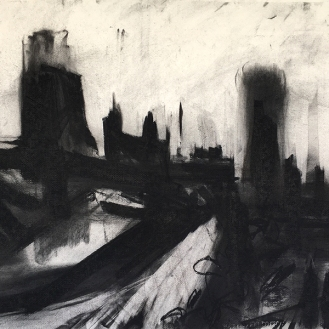 Cligga 6, charcoal with compressed charcoal, 50 x 70cm, 2001.