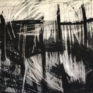 Cligga, charcoal with compressed charcoal, 56 x 76cm, 2001.