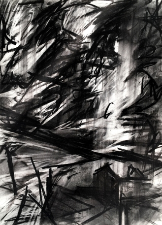 Cape Cornwall, charcoal with compressed charcoal, 76 x 56 cm, 2001.
