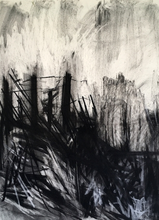 Cligga 3, charcoal with compressed charcoal and white chalk, 76 x 56cm, 2001.