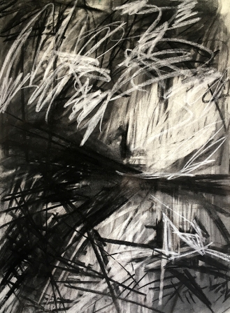 Cape Cornwall, charcoal with compressed charcoal and white pastel, 76 x 56cm, 2001.