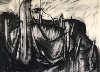 Cligga, charcoal with compressed charcoal and white pastel, 56 x 76cm, 2001.