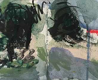 New Forest, watercolour, ink, pastel, 14.5 x 42.4cm, 2016.