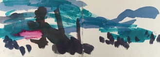 Agia Efimia - Kefalonia, ink, marker pen, pastel, 14.5 x 42.4cm, 2016.