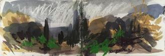 Agia Efimia - Kefalonia, watercolour, ink, pastel, 14.5 x 42.4cm, 2017.