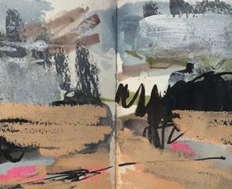 Polzeath - Cornwall, watercolour, pastel, acrylic, marker pen, 14.5 x 42.4cm, 2016.
