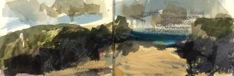 Polly Joke Beach - Cornwall, watercolour, and pastel, 14.5 x 42.4cm, 2016.