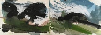 Sheffield Park - East Sussex, watercolour, ink, pastel, 14.5 x 42.4cm, 2017.