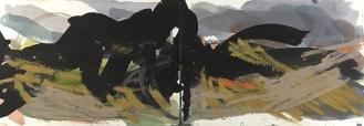 Bodmin Moor - Cornwall, watercolour, ink, pastel, 14.5 x 42.4cm, 2017.