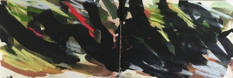 Sheffield Park - East Sussex, 2017, watercolour, ink, pastel, 14.5 x 42.4cm, 2017.