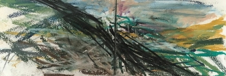 Cuckmere - East Sussex, 2017, watercolour and pastel, 14.5 x 42.4cm, 2017.