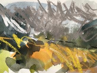 Bodmin Moor, Cornwall - watercolour and pastel, 2018.