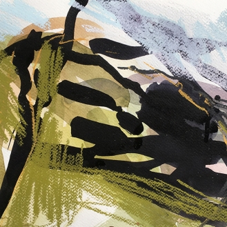 South Downs Way - watercolour, pastel and indian ink, 2018.