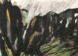 Arenig Fach, Snowdonia - ink, watercolour and pastel on paper, 2018.