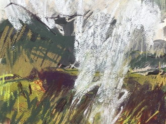 Arenig Fawr, Snowdonia - ink, watercolour and pastel on paper, 2018.