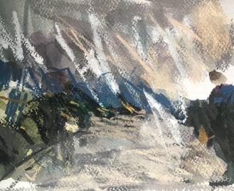 Bala, Snowdonia - watercolour and pastel on paper, 2018.