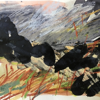 Bodmin Moor, Cornwall - indian Ink, watercolour and pastel on paper, 2018.