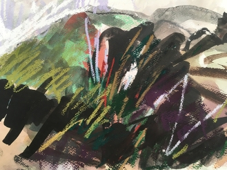 Moel Llyfnant - indian ink, watercolour and pastel on paper, 2018.