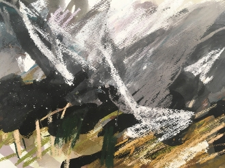Rhinogs, Snowdonia - indian ink, watercolour and pastel on paper, 2018.